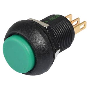 Snap-action switch, 12 mm, 1 NC + 1 NO, 1-pin, green, IP67 APEM IMP7Z432