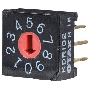 Rotary code switch, 10 positions, vertical OTAX