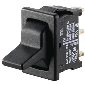 Toggle switch, 1-pin, changeover switch, black MARQUARDT 01813.1102-00