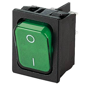 Rocker switch, 2-pin, OFF, green I-O, illuminated MARQUARDT 01835.3118-01