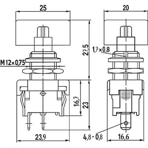 Push button, 6 (2) A - 250 V ~ 1-pole, N/C MARQUARDT 01841.1301-01