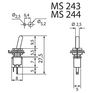 Toggle switch, 3 A - 125 V AC, on-off MIYAMA MS 243