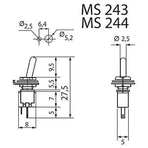 Kippschalter, 3A-125VAC, Ein-Aus MIYAMA MS 243