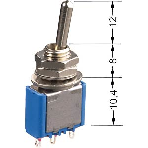 Toggle switch, 1-pin, 6 A - 125 V AC, on-on MIYAMA MS 500A-B