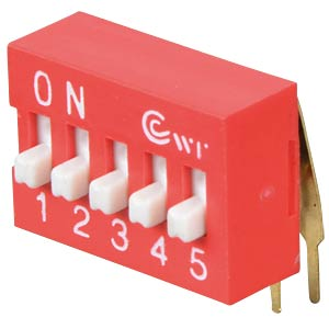 Dip switch, angled, 5-way FREI