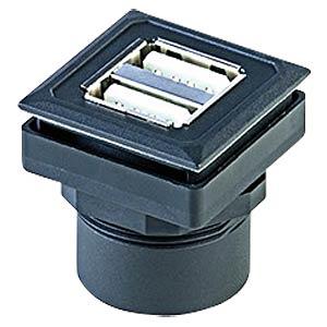 Doppel USB-Buchse auf Kabelstecker - Typ A, schwarz SCHLEGEL OKJ 2USB