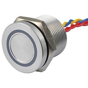 Piezotaster, Ø 22/19 mm, 1x Ein, LED-Ring 5V gn APEM PBAR9AF0000A0G