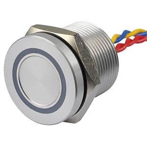 Piezotaster, Ø 22/19 mm, 1x Ein, LED-Ring 5V rt/ge APEM PBAR9AF0000A2B
