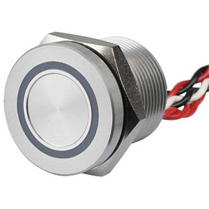 Piezotaster 19 mm - NO, LED-Ring 5 V rot/weiß APEM PBAR9AF0000A2D