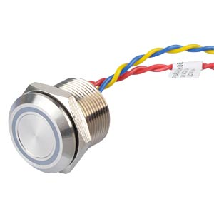 Piezo pushbutton 19 mm - NO, LED ring 24 V blue APEM PBARAAFB000K0B