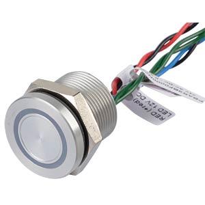Piezotaster 19 mm - NC, LED-Ring 12 V rot/blau APEM PBAR9BF0000N2C