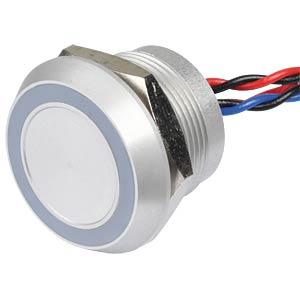 Piezotaster, Ø28/22mm, 1x Ein, LED-Ring 24V rt/bl APEM PBARYAF0000E2C