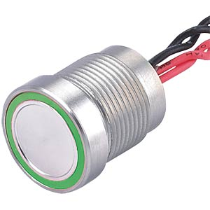 Piezo switch 28 mm, 1A/24VDC, green ring ONPOW PS223P10YSS1G24T