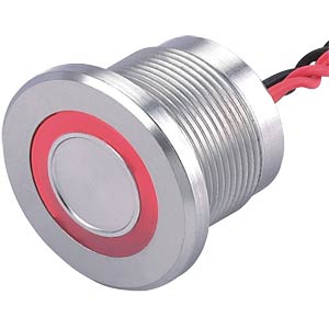 Piezo switch 22 mm, 1A/24VDC, red ring ONPOW PS193P10YSS1R24L