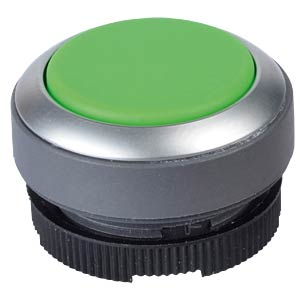FS+ 22 — push-button switch — metal, green, can be illuminated, RAFI 1.30.270.231/2500