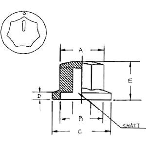 Kunstoff-knopf, Ø 25,3 mm, Achse: 6,4mm  sw RND COMPONENTS RND 210-00278