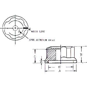 Knopf mit Aluminium Kappe, 45 mm, Achse: 6,4 mm RND COMPONENTS RND 210-00281