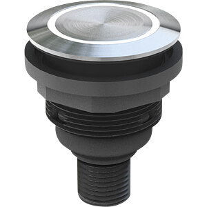 Drucktaster - 1 S, 0, Edelstahl, LED-Ring blau SCHLEGEL SVATLRBI0042C005