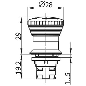 Emergency stop button, mounting Ø: 16.2 mm SCHLEGEL TA_RKUV28