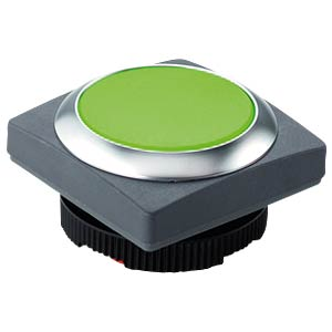 FS+ 22 — push-button — square, metal, green, can be illuminated RAFI 1.30.270.071/2500