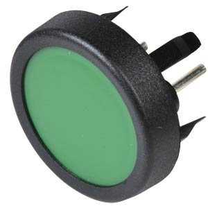 Pushbutton, front mounting, 1-pin, max. 48 VDC, green SCHURTER 1241.1104.7095