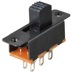 Miniature slide switch, soldered connection, 2 x ON/ON, black FREI