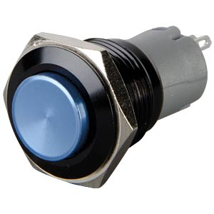 Pressure switch, round, 16 mm, 3 A 250 V, blue ONPOW LAS2GQG-11-Z-B-A