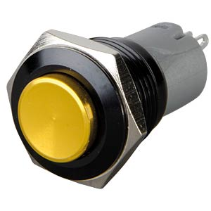 Pressure switch, round, 16 mm, 3 A 250 V, yellow ONPOW LAS2GQG-11-Z-Y-A