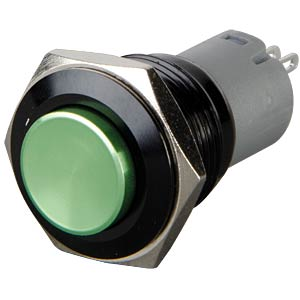 Pressure switch, round, 16 mm, 3 A 250 V, green ONPOW LAS2GQG-11-Z-G-A