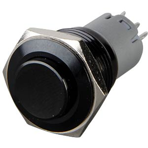Pressure switch, round, 16 mm, 3 A 250 V, black ONPOW LAS2GQG-11-Z-B-A