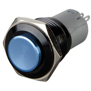 Pushbutton, round, 16 mm, 3 A 250 V, blue ONPOW LAS2GQG-11-B-A