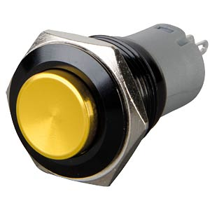 Pushbutton, round, 16 mm, 3 A 250 V, yellow ONPOW LAS2GQG-11-Y-A