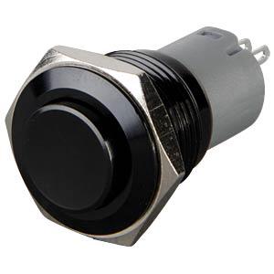 Pushbutton, round, 16 mm, 3 A 250 V, black ONPOW LAS2GQG-11-N-A