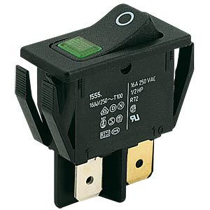 Rocker switch, 2-pole, window green, illuminated MARQUARDT 01555.3108-00