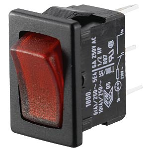 Rocker switch, 1-pole, OFF, red, illuminated MARQUARDT 01800.1102-01