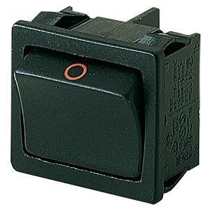 Rocker switch, 2-pin, NO, black, I-O MARQUARDT 01802.1221-01