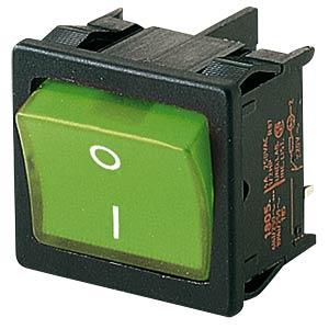 Wippschalter, 2x Aus, beleuchtet, grün, I-O MARQUARDT 01805.7118-02