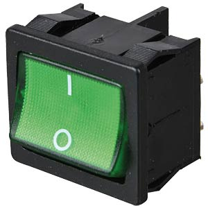 Rocker switch, 2-pin, OFF, green, illuminated MARQUARDT 01805.7109-02