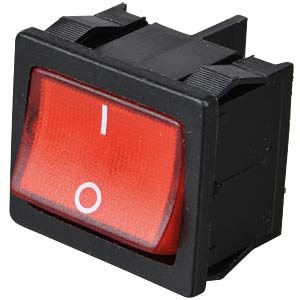 Rocker switch, 2-pin, OFF, red, illuminated MARQUARDT 01805.7110-03