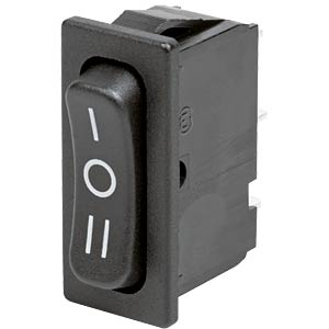 Rocker switch, 1-pin, UM, black, I-O-II MARQUARDT 01838.1509-01