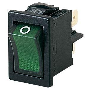 Rocker switch, 2-pin, OFF, green I-O, illuminated MARQUARDT 01855.0108-00