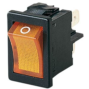 Rocker switch, 2-pin, OFF, orange I-O, illuminated MARQUARDT 01855.1104-00