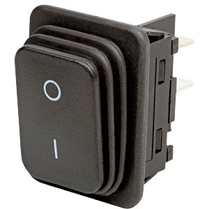 Rocker switch, 2-pin, OFF, black, I-O MARQUARDT 01932.3112-02
