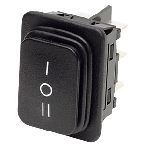 Rocker switch, 2-pin, UM, black, I-O-II MARQUARDT 01939.3119-04