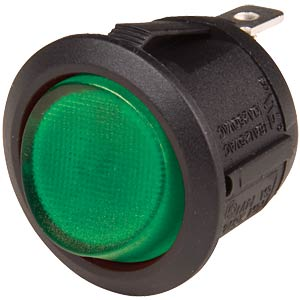 Rocker switch, round, 1x ON - OFF, black/green SCI-PARTS WS R13-112 SW GN