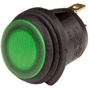 Rocker switch, round, IP65, 1x ON - OFF, black/green SCI-PARTS R13-112B8W-02BG0A-L1