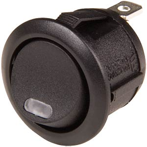 Rocker switch, round, 1x ON - OFF, partially lit green SCI-PARTS WS R13-112 LLAB