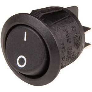 Rocker switch, round 2x ON - OFF, SCI-PARTS R13-244A-02-BB-2