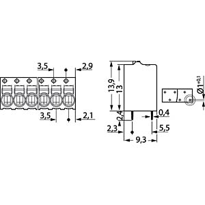 PCB terminal, 2-pole, 1.5 mm², grey WAGO 2081-1122