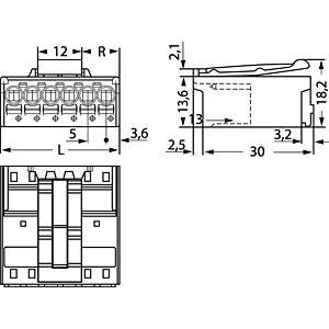 picoMAX 5.0 pin header, 2-pin WAGO 2092-1522/002-000